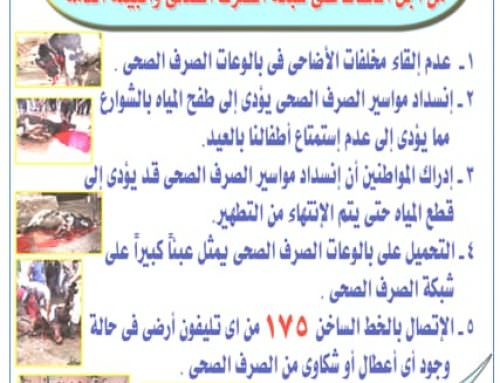 شركة الصرف الصحى بالقاهرة.. حملة توعية عن مخاطر القاء مخلفات ذبح الاضاحى .