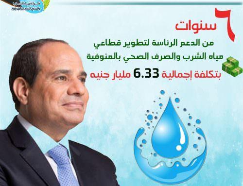 6.33 مليارات جنيه إجمالي الإستثمارات بقطاع مياه الشرب والصرف الصحي بالمنوفية فى عهد السيسى.