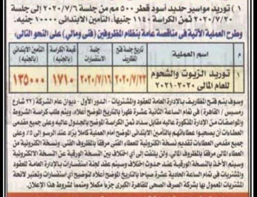 """مناقصة عامة : """" شركة الصرف الصحي للقاهرة الكبرى """""""